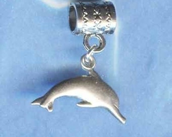Sterling Silver Leaping Dolphin Lrg Hole Bead Fits All European Style  Add a Bead Charm Bracelet Jewelry Pnd-1006