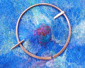 Shawl Pin Brooch, Copper Penannular, Celtic Style Sweater Clip