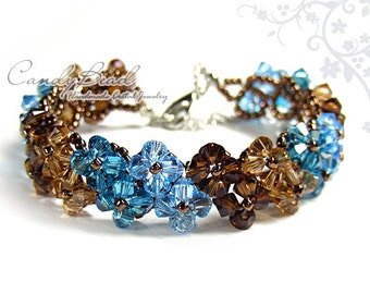 Swarovski Crystal Bracelet, Brown and Blue Crystal Bracelet by CandyBead