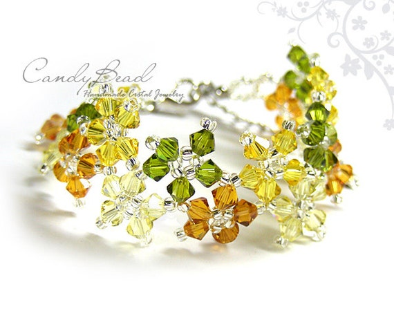 Swarovski bracelet, Autumn Multiflora Swarovski Crystal Bracelet by CandyBead
