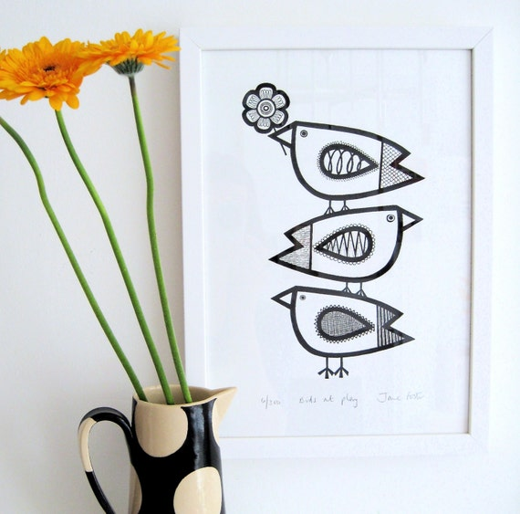 Hand Pulled Birds At Play Screen Print by Jane Foster Limited Edition