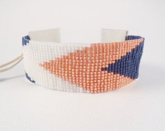 SALE Nautical chevrons loom beaded cuff, navy blue, coral, white