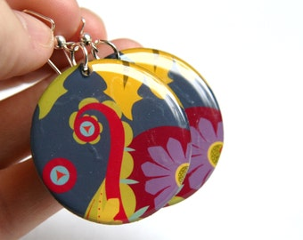 Funky Floral Resin Earrings - Light Weight Large Resin Earrings in dark pink, gray, purple and yellow