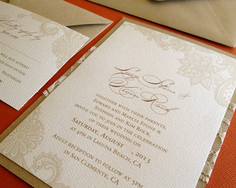 Vintage Lace- Wedding invitation