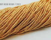Bright Gold Czech Glass Seed Beads size 11/0 one Hank