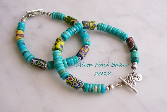 Turquoise Bracelet African Trade Bead Sterling Silver Toggle Closure