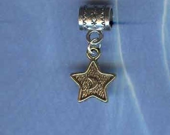 Silver Gold STAR Lrg Hole Bead Fits All European Style Add a Bead Charm Bracelet Jewelry AAB-Cel010