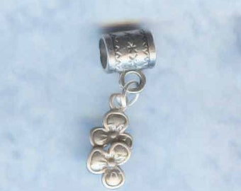 Sterling Silver Twin Flowers Lrg Hole Bead Fits All European Style Add a Bead Charm Bracelet Jewelry PND-PNSY