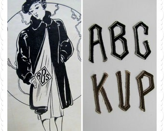 1940s Coat Monogram Embroidered Letters - Pick Your Initials - New Old Stock