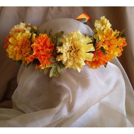 Marigold wedding flowers faerie bridal head wreath renaissance costume accessory Day of the Dead