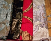 "Five Pieces of Dupioni Silk  with Hand Appliqued Velvet Motifs 24"" X 24"""