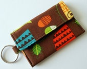 Mini Wallet Keychain in Brown with Owls