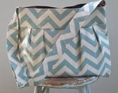 Blue Chevron Diaper Bag XL Custom with Adjustable Strap Key Fob Six Pockets Attaches to Stroller