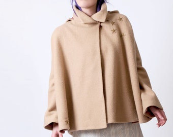Beige winter cape, Beige wool hooded Cape, Bronze stars cape coat with flared sleeves, Womens winter cape coat, MALAM cape, Made in France