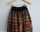 Vintage indigo boro textile hmong embroidered vietnam wrap skirt