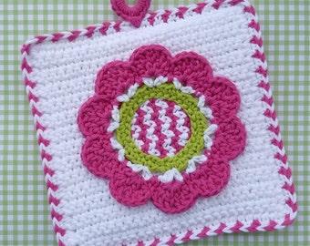 Spring Fling Flower Potholder Crochet PATTERN - INSTANT DOWNLOAD