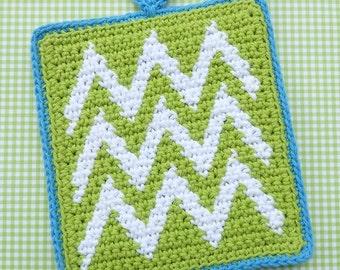 Chevron Potholder Crochet PATTERN - INSTANT DOWNLOAD