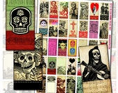 Day of the Dead Domino Digital Collage Sheet for pendants decoupage 25mm x 50mm 1x2 inch pink red black white green papel picado calavera