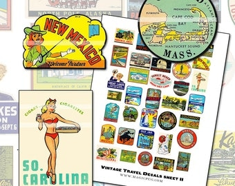 Vintage Travel Decals II Digital Collage Sheet US 1930's 1940's graphics Cape Cod Massachusetts