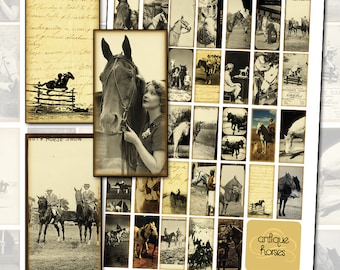 Antique Horse Altered Art Digital Collage Sheet for Domino necklace pendant jewelry 1x2 inch 25mm x 50mm western postcard ephemera