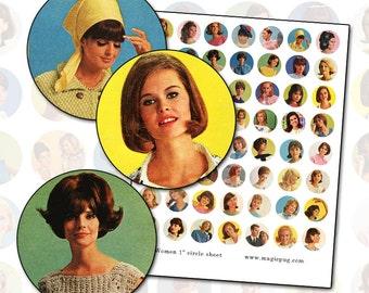 1960s Mod Retro Women 1 inch bottle cap circle digital collage sheet bouffant hair 25mm 25.4mm circle round pink green aqua bright colors