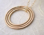 Concentric Long Necklace - 14k Gold Fill Circle Necklace