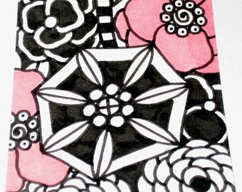 Original Drawing ACEO Black and White and Pink Flowers Design