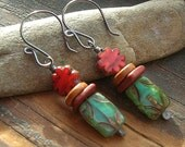 Orange Czech glass flower and Turquoise Czech glass with ceramic spacer earrings