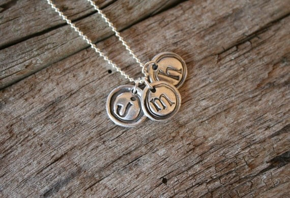 Rustic Silver Necklace Collection -  (1) Mini Monogram, silver jewelry, silver necklace, handmade jewelry, personalized jewelry