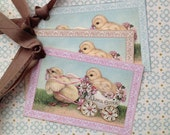 Easter Tags - Vintage Easter Chicks - Easter Chick Tags - Easter Egg - Set of 3