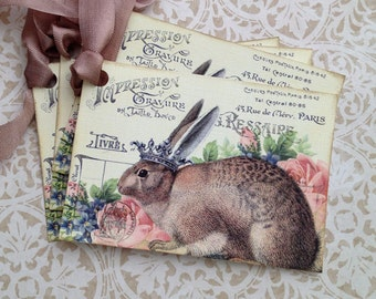 Rabbit Tags, French Rabbit Tags, Le LapinTags - Easter Rabbit Tags - Set of 4
