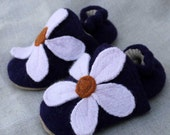 Little Flower Wool Baby Slippers Choose from 2 Sizes  made from recycled materials