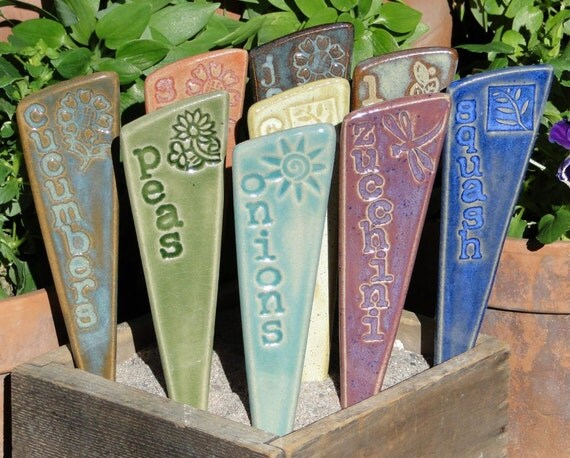 Veggie Garden Markers / Plant Stakes - A Set of 3 vegetable ceramic garden markers
