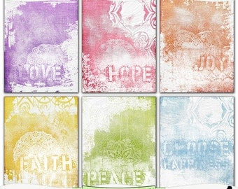 Inspirational Shabby Art Digital Papers Spring Colors Instant Download Set of 6 - 8.5 x 11 inch Printable JPEG & PDF Commercial Use 1368