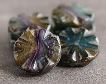Rainbow Picasso Czech Glass Chunky Bead 18mm Coin :  4 pc