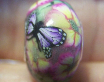 Polymer Bead -Pink Nectar- ( European Style Lined Bead)