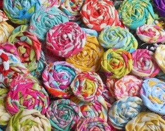 "Rolled Roses Designer Applique Fabric Flowers Hairclip Pinwheel Lollipop Bobby Pin Rosette 1"" Scrapbook Handmade Wholesale 40"
