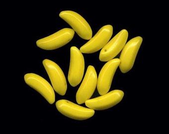 Banana Beads Fun Fruit Glass Beads Yellow Top Hole