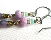 Purple Glass Drop Earrings