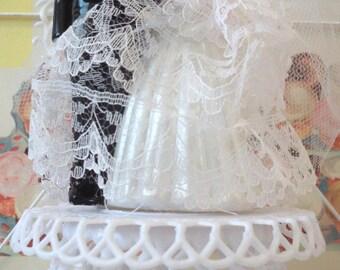 Modern Vintage / Bride and Groom Wedding Cake Topper / Handmade from Vintage Craft Supplies / Heart Backdrop