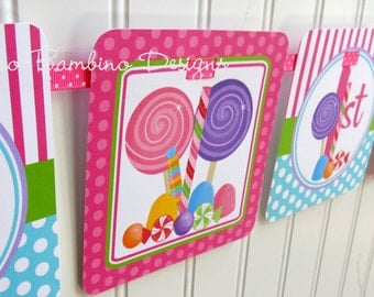 Sweet Shoppe Happy Birthday Banner / Candyland Party / Lollipop Banner / Personalized with Name and Age