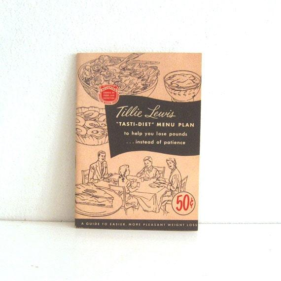 Vintage 1950s Dieting Cookbook - Tillie Lewis Tasti Diet Menu Plan - recipe booklet