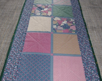 Country Quilted Table Runner Blue Pink Gold Vintage