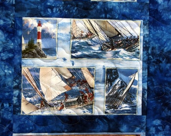 Lighthouse, Sailing, Sailboat Quilted Wall Hanging, Quiltsy Handmade, Seaside Fun, Rough Seas