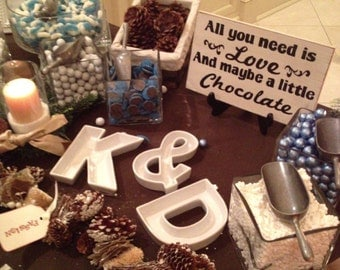 Rustic Wedding Sign All You Need is LOVE and maybe a Little CHOCOLATE candy Bar Sweets Table Treat Reception Country style weddings