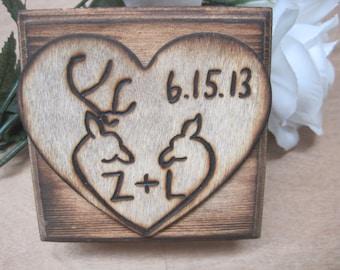 Rustic Wedding Ring Bearer Box Keepsake Woodburned Deer Buck Engraved Natural Pillow Alternative
