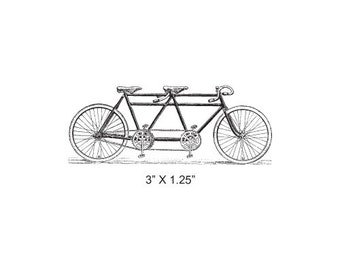 Tandem Bicycle Rubber Stamp 386