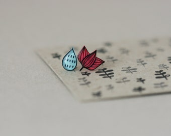Water Lily / Droplet - Earring Studs