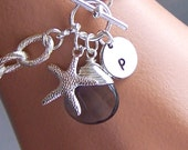 Personalized Bracelet - Initial Letter Jewelry, Custom Stone, Nautical Jewelry, Gifts for Her, Bridesmaids Gifts - 4077