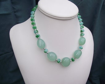 Beaded Necklace with Chalcedony and faceted Silver beads